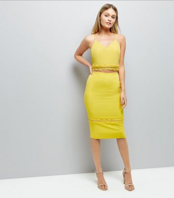 Yellow Lace Trim Pencil Skirt New Look