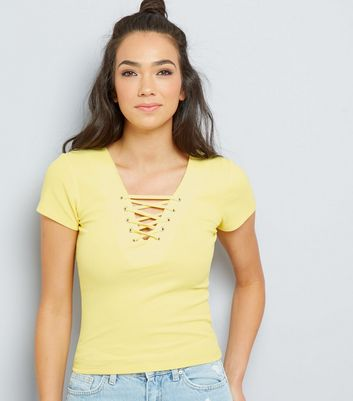 Yellow Lattice Front Short Sleeve T-Shirt New Look