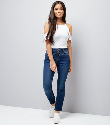 Teens Navy High Waist Jeans New Look