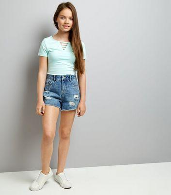 Teens Blue Eyelet Trim Denim Shorts New Look