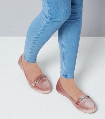 Wide Fit Pink Velvet Loafers