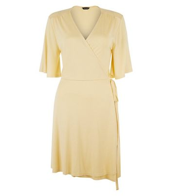 Yellow Wrap Front 1/2 Sleeve Skater Dress New Look