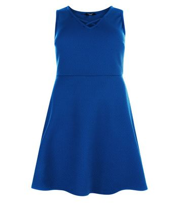 Curves Blue Lattice Neckline Skater Dress New Look