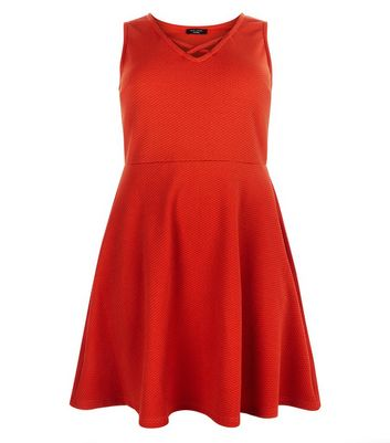 Curves Red Lattice Neckline Skater Dress New Look