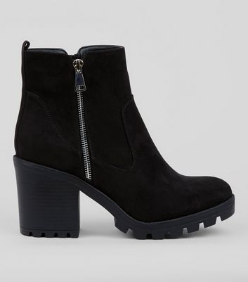 Black Chunky Side Zip Ankle Boots