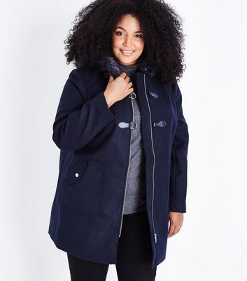 Curves Navy Blue Hooded Duffle Coat New Look