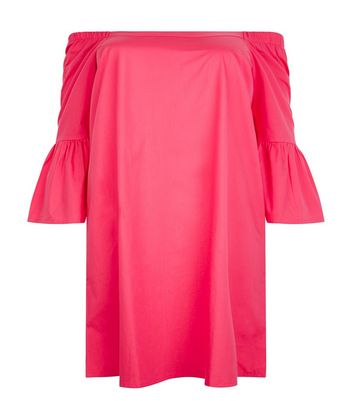 Curves Pink Bardot Neck Tunic Dress New Look