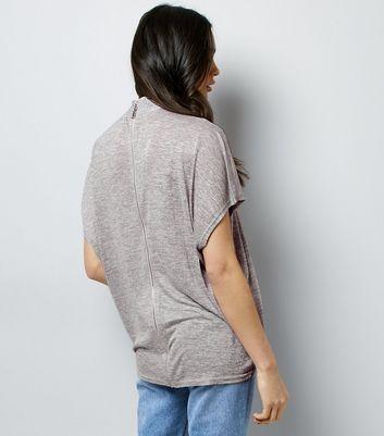 Blue Vanilla Grey Gem Studded Choker Neck T-Shirt New Look