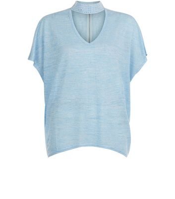 Blue Vanilla Blue Gem Studded Choker Neck T-Shirt New Look