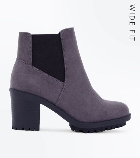 dfdb36765d22 ... Wide Fit Grey Suedette Heeled Chelsea Boots ...