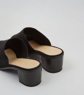Wide Fit Black Suedette Mules New Look