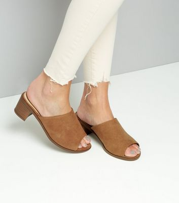 Wide Fit Tan Suedette Mules New Look