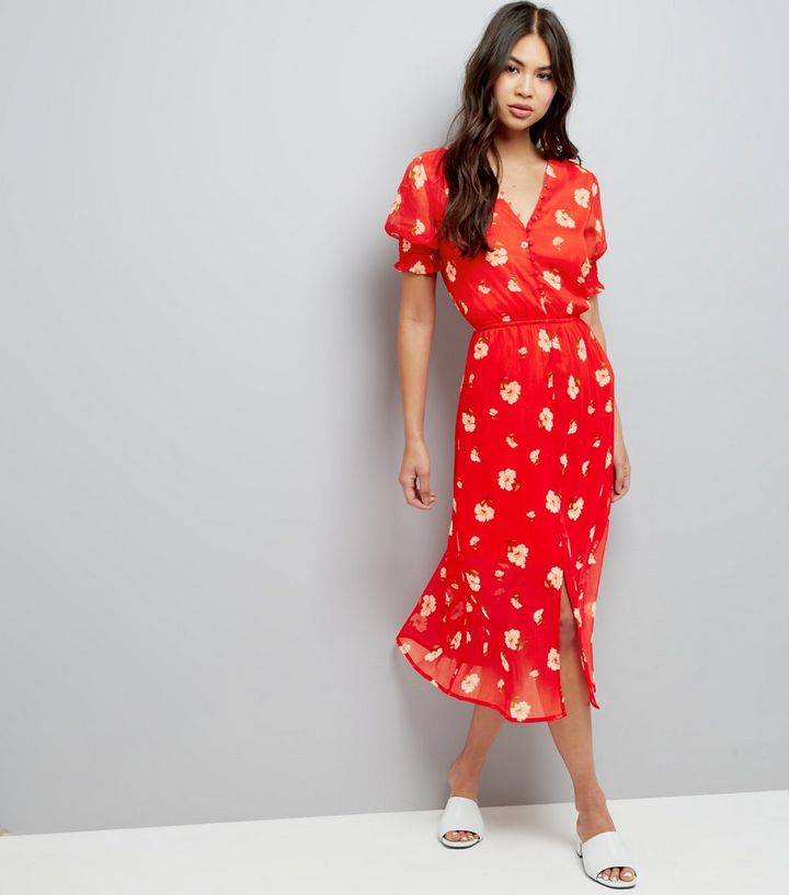 722137f14acf1 Influence Red Floral Print Midi Dress Add to Saved Items Remove from Saved  Items