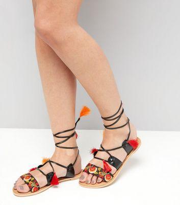 Black Leather Embroidered Tassel Trim Sandals New Look