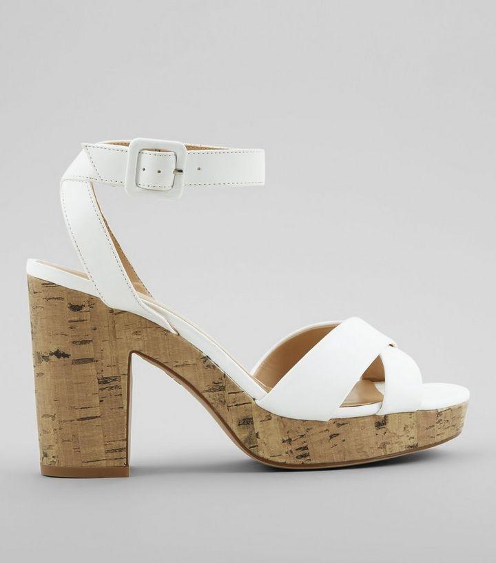 793e2b8dacc White Cross Strap Cork Block Heels
