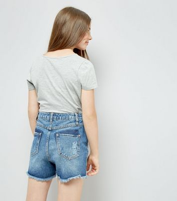 Teens Blue Frayed Side Seam Denim Shorts New Look