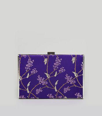 Purple Floral Brocade Satin Box Bag New Look