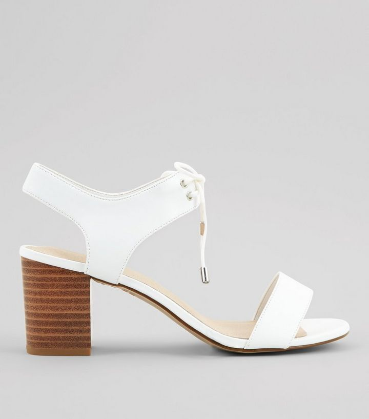 9502503921b White Comfort Lace Up Low Block Heels Add to Saved Items Remove from Saved  Items