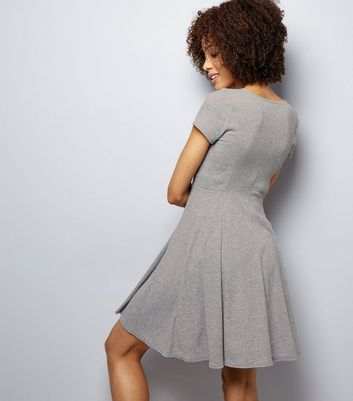Dark Grey Ribbed Button Front Skater Dress New Look