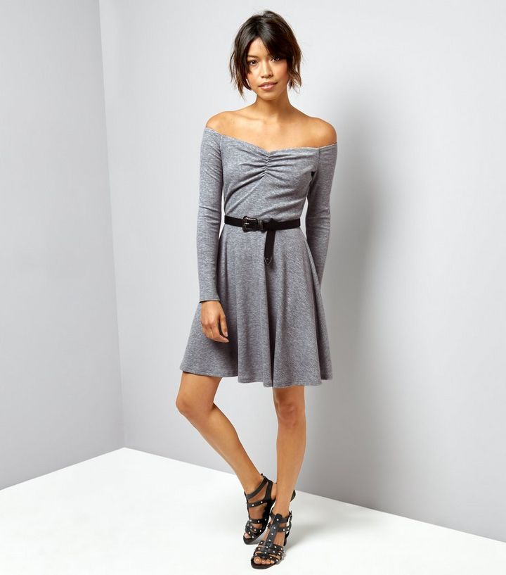 ... Dark Grey Ribbed Jersey Long Sleeve Bardot Neck Skater Dress. ×. ×. ×.  Shop the look e89ad093b
