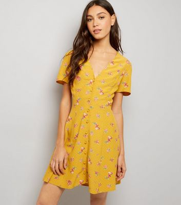 Orange Ditsy Floral Print Button Front Dress New Look