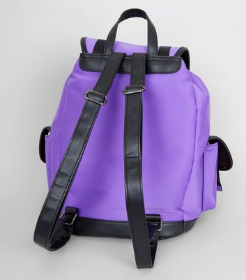 Purple Scuba Contrast Trim Backpack New Look
