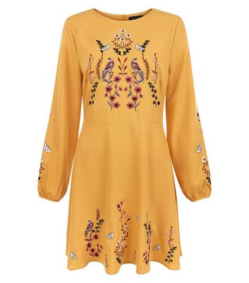 Yellow Bird Embroidered Skater Dress New Look