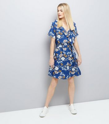 Blue Floral Print Frill Trim Wrap Front Dress New Look