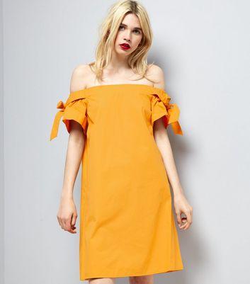Yellow Bardot Neck Tie Sleeve Dress New Look