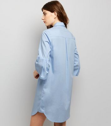 Blue Flared Sleeve Shirt Dress New Look