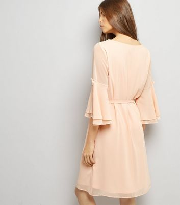 Shell Pink 3/4 Flared Sleeve Tie Waist Tunic Dress New Look