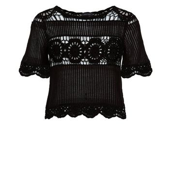 Black Crochet T-Shirt New Look