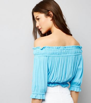 Turquoise Shirred Bardot Neck Crop Top New Look