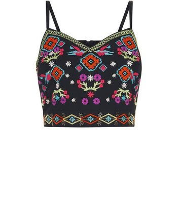 Black Embroidered Bralet New Look