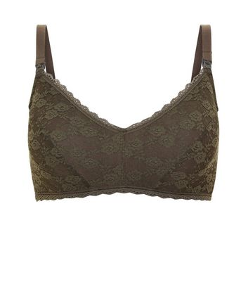 Maternity Khaki Halenka Lace Nursing Bra New Look