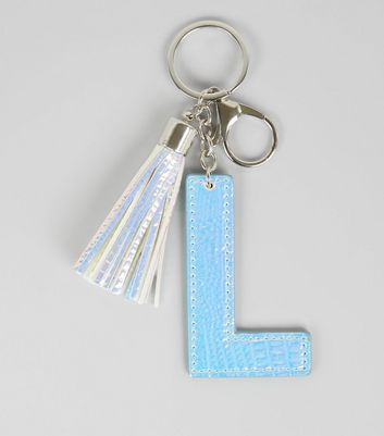 Silver Holographic Snakeskin Texture Initial L Keyring New Look