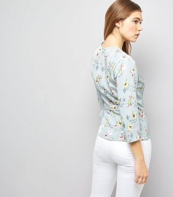 Blue Floral Print Jacquard Textured Wrap Front Top New Look