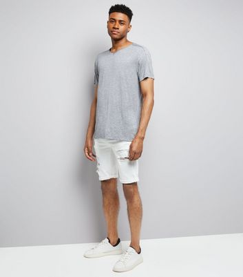 Grey Raw Edge V Neck T-Shirt New Look