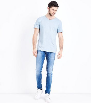 Pale Blue Raw Edge V Neck T-Shirt New Look