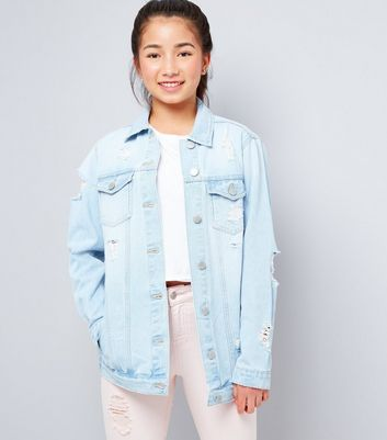 Teens Pale Blue Ripped Denim Jacket New Look