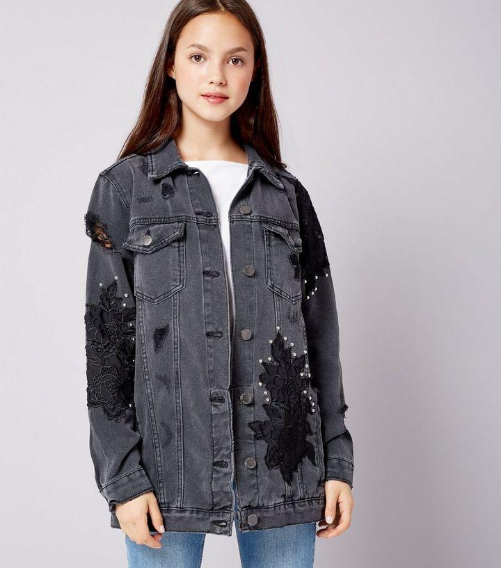 6ef4a46946971 Teens Black Floral Applique Studded Denim Jacket