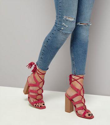 Pink Suede Tassel Back Ghillie Heels New Look