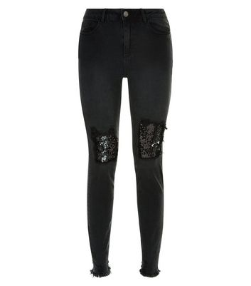 Tall Black Distressed Sequin Knee Skinny Jeans New Look