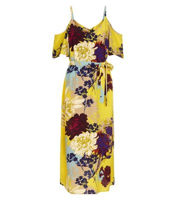 Tall Yellow Floral Cold Shoulder Midi Dress New Look