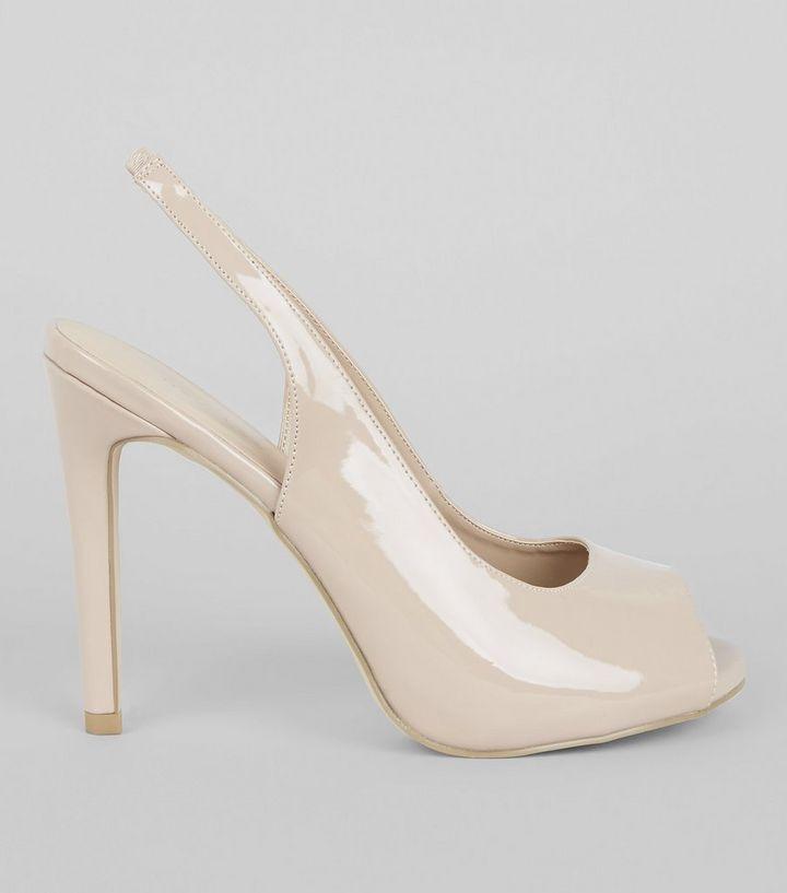Nude Pink Patent Slingback Peep Toe Heels
