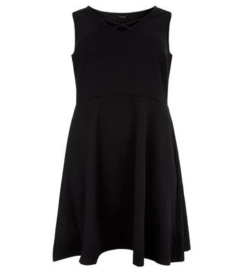 Curves Black Lattice Front Skater Dress New Look