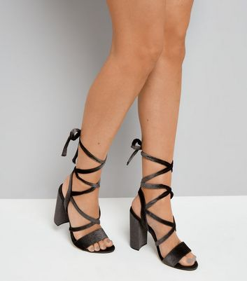 Black Velvet Ankle Tie Heeled Sandals New Look
