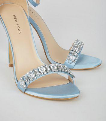 Pale Blue Satin Crystal Embellished