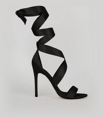 Black Satin Ribbon Tie Heels New Look