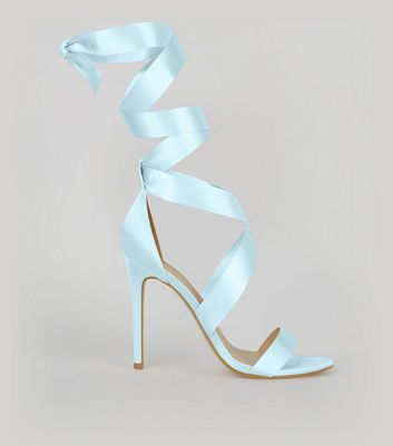 Pale Blue Satin Ribbon Tie Heels New Look